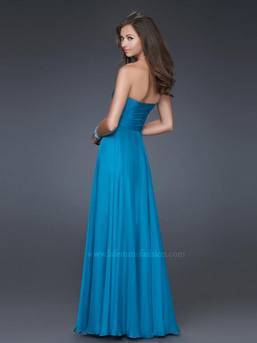 Sweetheart Ice Blue Silky Chiffon Empire Style Floor Length Brooch Bridesmaid Gown