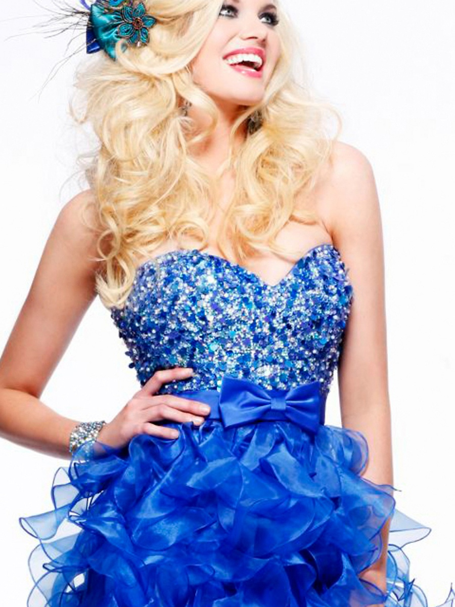 Luxurious A-line Sweetheart Glittering Sequins Beautiful Ruffles High Low Prom Dresses