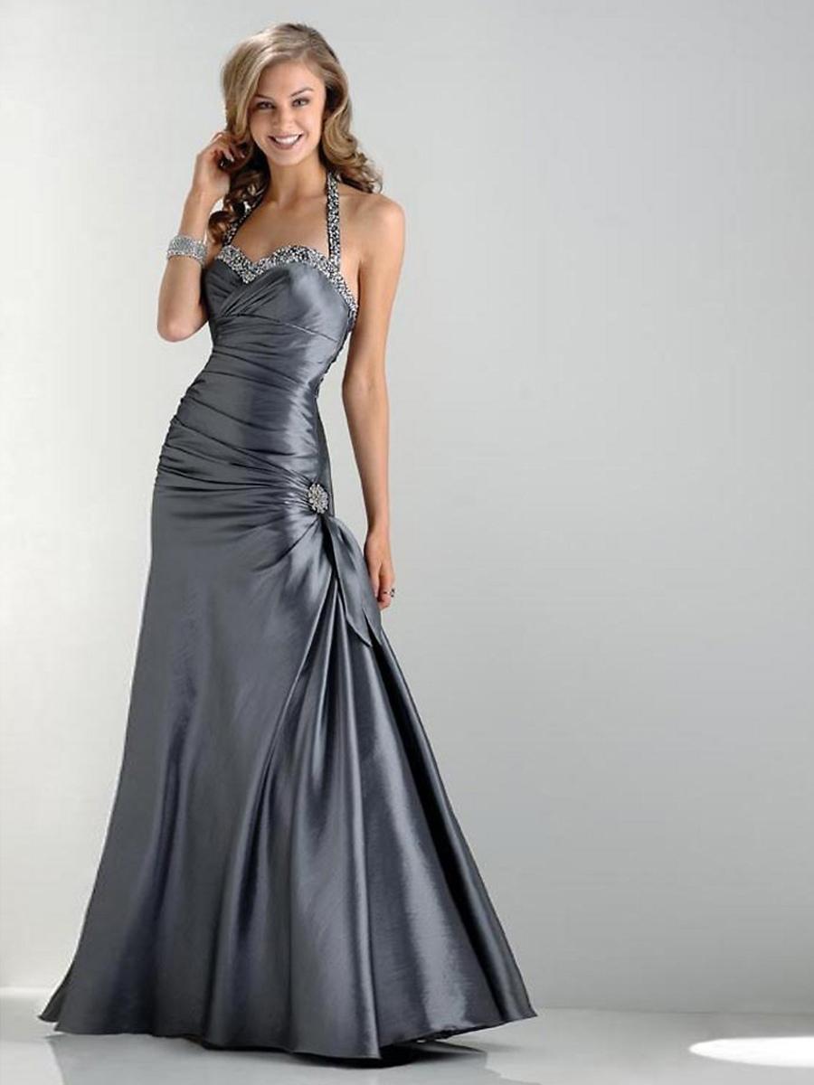 Silver Satin Sequined Halter Sweetheart Neckline Sleeveless Floor-Length Evening Dress