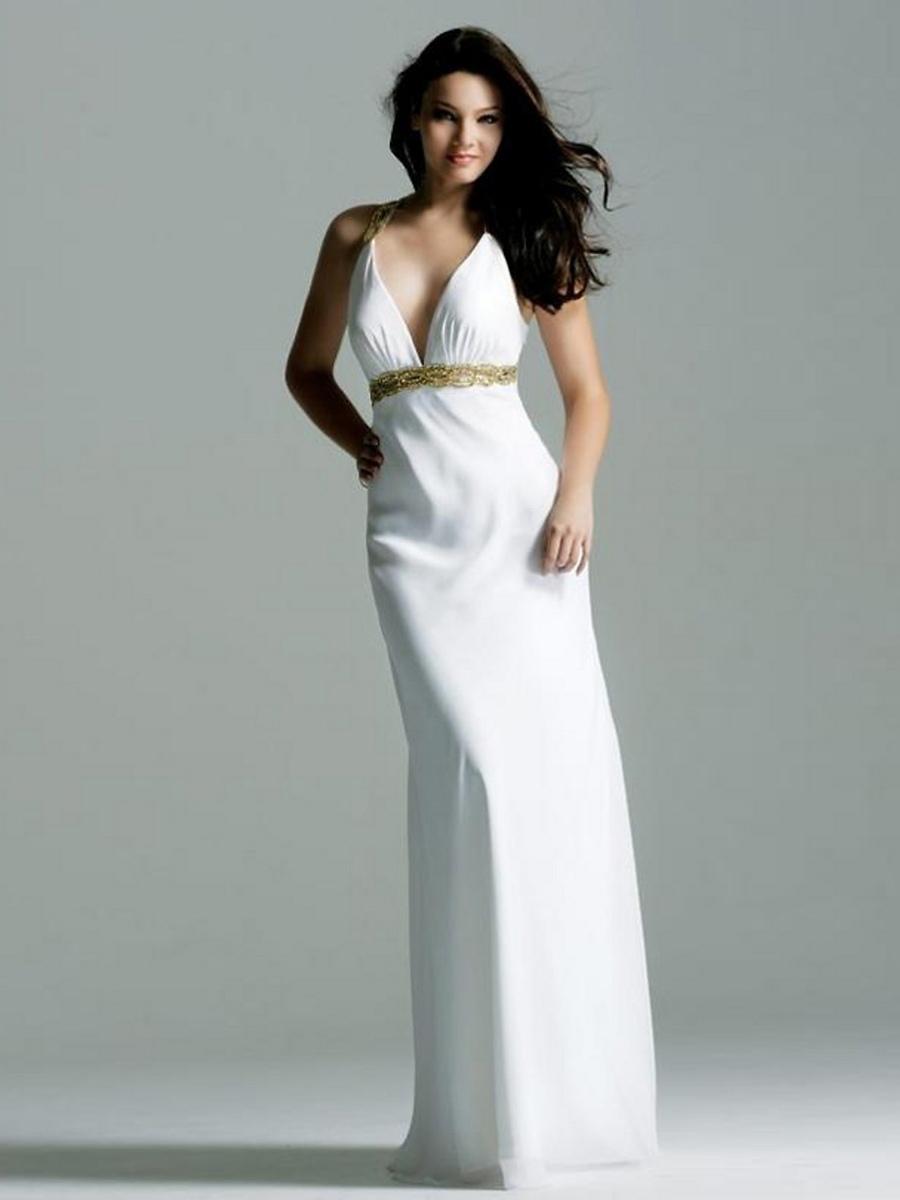 White Chiffon Beaded Halter V-Neck Neckline Sleeveless Floor-Length Evening Dress