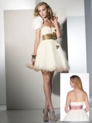 2012 Charming Short-length Sweetheart Empire Waistline Floral Tulle Fully Lined Cocktail Dress with Sash