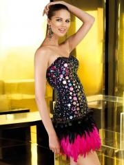 2012 Gorgeous Colorful Rhinestones Bodice and Flattering Feathers Skirt Prom Dress