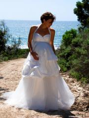 A-Line Halter Neckline Floor-Length Wedding Dress