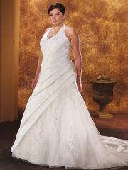 A-Line Halter Neckline Semi-Cathedral Train Wedding Dress