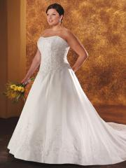 A-Line Strapless Beading And Embroidery Satin Wedding Dress