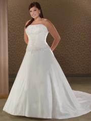 A-Line Strapless Beading Lace-Up Taffeta Plus Size Wedding Dress