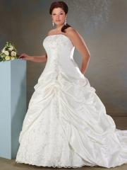 A-Line Strapless Lace-Up And Pick-Up Taffeta Wedding Dress
