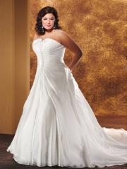 A-Line Strapless Lace-Up Shirring Plus Size Wedding Dress