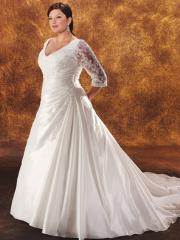 A-Line V-Neckline 3/4 Sleeves Semi-Cathedral Train Wedding Dress