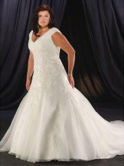 A Line V-Neckline Semi-Cathedral Train Beading Wedding Dress