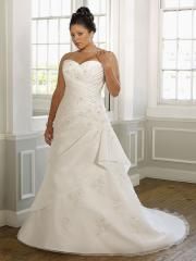 A-Line With Shirring Bodice Noble Plus-Size Wedding Dress