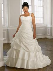 A-Line with Beaded Empire Waistline in Chapel Train Wedding Dress