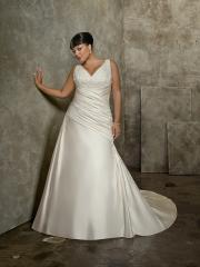 A-Line with Zipper Closure Beading Plus Size Wedding Dress