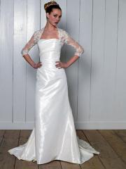 A Square Neckline with Lace Shoulder Wedding Dress