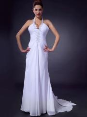 A White Sheath with Beaded Halter Neckline Wedding Dress