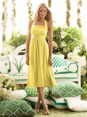 Adorable Square Neck Yellow Silky Chiffon Tea-Length Junior Bridesmaid Gown of Draped Skirt