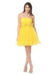 Adorable Strapless Yellow Tulle Short Length Floral Embellished Junior Bridesmaid Dress
