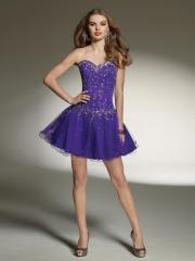 Adorable Sweetheart Short A-Line Regency Tulle and Satin Diamantes Junior Bridesmaid Dresses