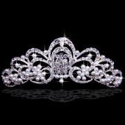 Alloy Garden Bridal Tiara with Rhinestones and Pearls