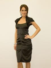 Astounding Strapless Short Sheath Black Stretch Satin Mother of Bride Dress with Matching Shawl