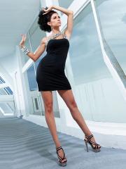 Attractive Mini-length Rhinetoned One-shoulder Sheath Dress