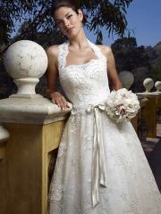 Attractive Square Neckline Lace Bridal Gown of Bow Sash
