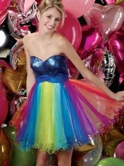 Attractive Sweetheart Sequined Bodice Empire Waistline Colorful Tulle Skirt Cocktail Dress