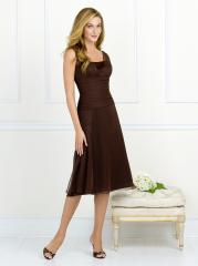 Attractive V-Neck Brown Tulle and Satin Short Knee-Length Junior Bridesmaid Gown of Ruche