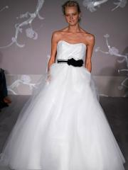 Ball Gown White Wedding Gown of Black Bow