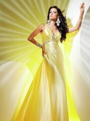 Beautiful Floor-length V-neck Rhinestone Trimmed Neckline A-line Dress