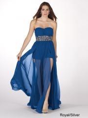 Beautiful High Quality Floor-length Strapless Rhinestones Belted Chiffon Royal Blue Prom Dress