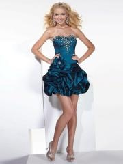 Beautiful Mini-length Sweetheart Rhinestoned Bodice and Pick-up Skirt Dress