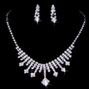 Beautiful White Rhinestone Bridal Jewelry Set