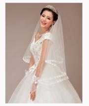 Bridal Exquisite Satin Seamed Multi-layered Tulle Veil with Beadings
