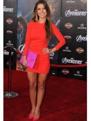 Bright Orange Long sleeves Evening Dress in Short-length