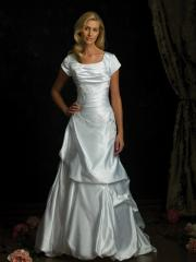 Cap Sleeves Satin Gown of Pick-Up and Embroidery