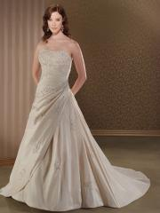 Champagne Taffeta Bridal Gown of All-Over Embroidery and Gathering