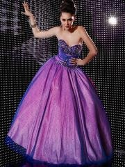 Charming Ball Gown Strapless Beaded Accented Taffeta and Tulle Quinceanera Dresses
