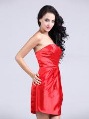 Charming Mini-length Strapless Elastic Woven Satin Homecoming Dress