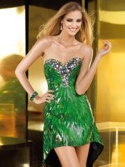 Charming Rhinestones Sweetheart Neckline Sequined Skirt Prom Dress with Asymmetric Train