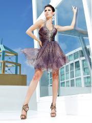 Charming Short-length Halter Leopard Chiffon Cocktail/Prom Dress