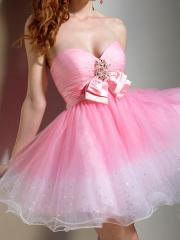 Charming Sweetheart A-Line Short Length Pink Satin Bodice and Tulle Skirt Bridesmaid Dress