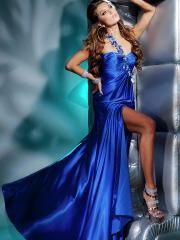 Chic Floor-length One-shoulder Sweetheart Royal Blue Evening Dress