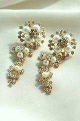 Chic Pure golden Alloy bridal  rhinestone Jewelry Set