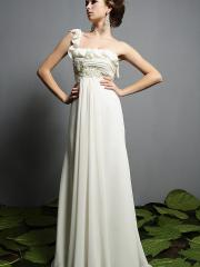 Chiffon Material Full Length Wedding Dress with Sexy One-shoulder Neckline Empire Waist and Beaded Embellishmen