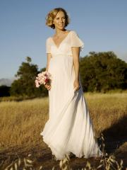Chiffon Short Sleeve V-Neckline Floor-Length Wedding Dress
