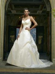 Church Wedding Gown-Taffeta Chapel Train with Halter Neckline