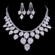 Classic Rhinestone Chandelier Necklace and Earrings