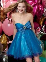Classic Short-length Sweetheart Bowknot with Rhinestones Waistline Taffeta and Tulle Cocktail Dress
