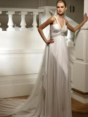 Classic with Deep V-Neck Modern Wedding Dress
